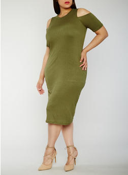 Plus Size Rib Knit Cold Shoulder Midi Dress - 0390038347814