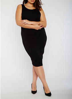 Plus Size Rib Knit Midi Dress with Caged Back - BLACK - 0390038347815