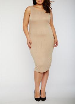 Plus Size Rib Knit Midi Dress with Caged Back - 0390038347815