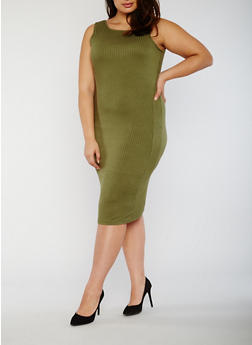 Plus Size Rib Knit Midi Dress with Caged Back - 0390038347815