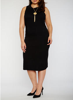 Plus Size Rib Knit Bodycon Dress with Necklace - 0390038347816