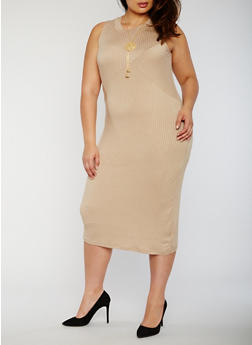 Plus Size Rib Knit Bodycon Dress with Necklace - 0390038347816