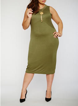 Plus Size Rib Knit Bodycon Dress with Necklace - OLIVE - 0390038347816