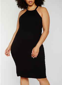 Plus Size Rib Knit Bodycon Dress - 0390038347818