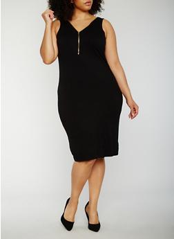 Plus Size Sleeveless Rib Knit Zip Dress - 0390038347819