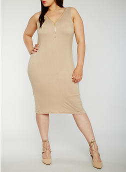 Plus Size Sleeveless Rib Knit Zip Dress - 0390038347819