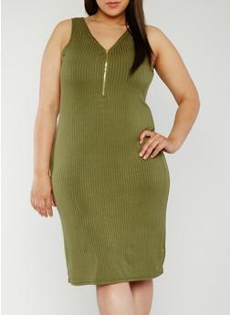 Plus Size Sleeveless Rib Knit Zip Dress - OLIVE - 0390038347819