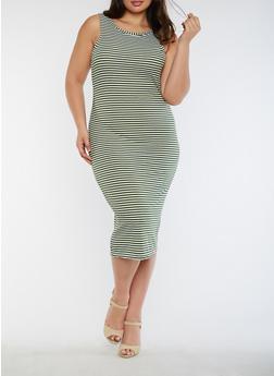 Plus Size Striped Rib Knit Tank Dress - 0390038347820
