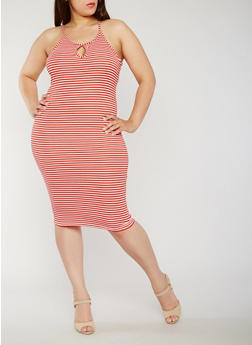 Plus Size Sleeveless Striped Rib Knit Bodycon Dress - 0390038347821