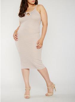 Plus Size Sleeveless Striped Rib Knit Bodycon Dress - 0390038347821