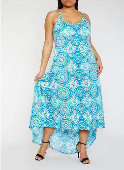 Plus Size Sleeveless Printed Cross Back Maxi Dress - 0390038347828