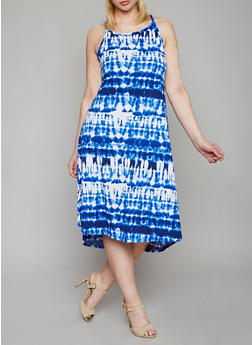 Plus Size Tie Dye Dress with Spaghetti Straps - 0390038347830