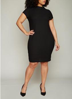 Plus Size Funnel Neck Midi Dress with Back Keyhole - BLACK - 0390038347839