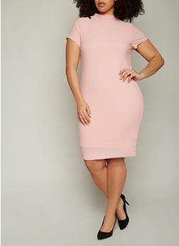Plus Size Funnel Neck Midi Dress with Back Keyhole - 0390038347839
