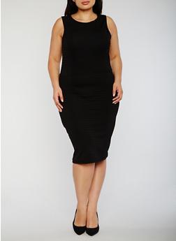 Plus Size Bandage Dress with Caged Back - 0390038347846