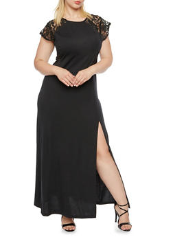 Plus Size Semi-Sheer Maxi Dress with Lace Paneling - 0390038347864