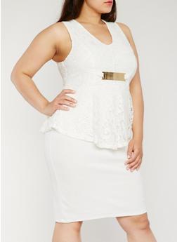 Plus Size Lace Peplum Dress - WHITE - 0390038347875