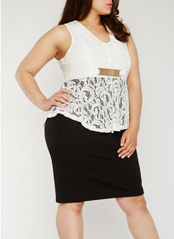 Plus Size Lace Peplum Dress - 0390038347875