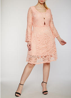 Plus Size Lace Skater Dress with Necklace - 0390038347877