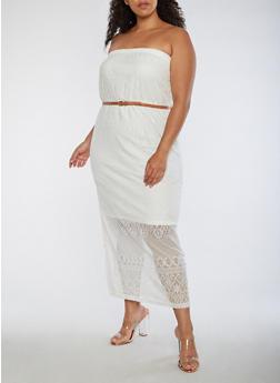 Plus Size Lace Maxi Dress - IVORY - 0390038347878