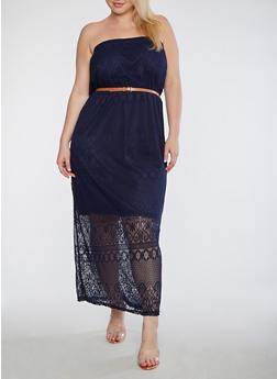 Plus Size Lace Maxi Dress - 0390038347878