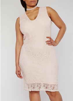 Plus Size Sleeveless Lace Sheath Dress - 0390038347883