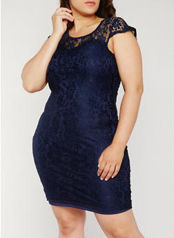 Plus Size Floral Lace Sheath Dress - 0390038347886