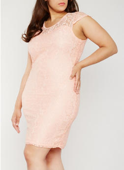 Plus Size Floral Lace Sheath Dress - 0390038347886