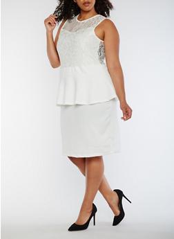 Plus Size Sleeveless Lace Peplum Dress - WHITE - 0390038347887