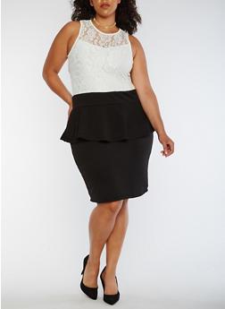 Plus Size Sleeveless Lace Peplum Dress - IVORY - 0390038347887