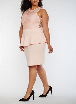 Plus Size Sleeveless Lace Peplum Dress - 0390038347887
