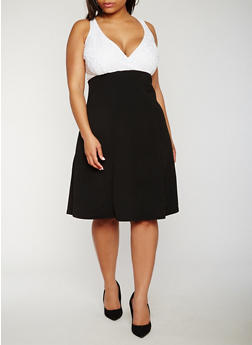 Plus Size V Neck Skater Dress with Lace Yoke - 0390038347888