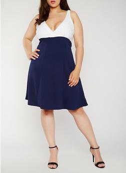 Plus Size V Neck Skater Dress with Lace Yoke - 0390038347888