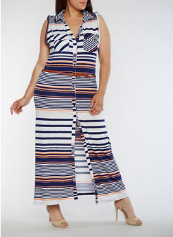 Plus Size Striped Shirt Dress with Belt - 0390038347901