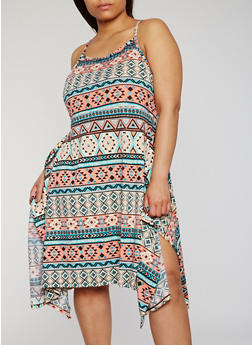 Plus Size Printed Asymmetrical Tank Dress - 0390038347903