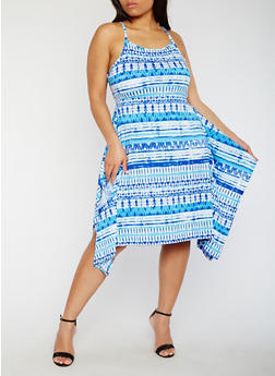 Plus Size Printed Midi Dress with Asymmetrical Hem - 0390038347906