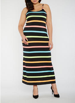 Plus Size Multi Color Striped Maxi Dress - 0390038347908