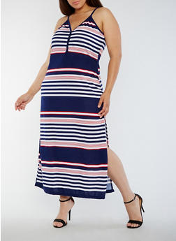Plus Size Striped Button Detail Maxi Dress - 0390038347914