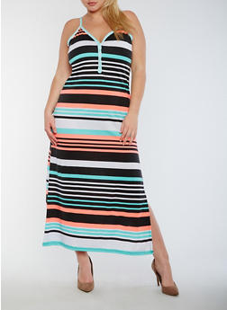 Plus Size Striped V Neck Maxi Dress - 0390038347915