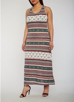 Plus Size Printed Maxi Dress - 0390038347916