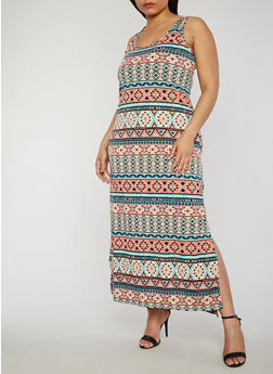 Plus Size Printed Scoop Neck Maxi Tank Dress - 0390038347920