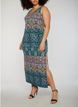 Plus Size Printed Midi Dress with High Side Slit - 0390038347921
