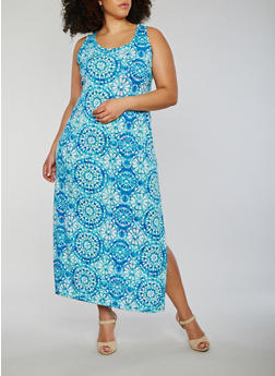 Plus Size Sleeveless Printed Maxi Dress - 0390038347925