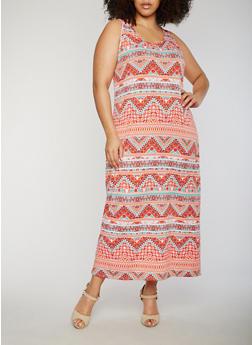 Plus Size Sleeveless Printed Maxi Dress - 0390038347928