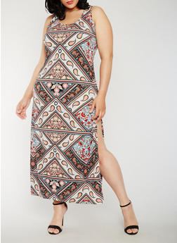 Plus Size Printed Maxi Dress with Side Slit - 0390038347929