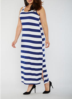 Plus Size Scoop Neck Striped Maxi Dress - 0390038347930