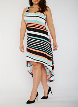 Plus Size Striped High Low Tank Dress - 0390038347933