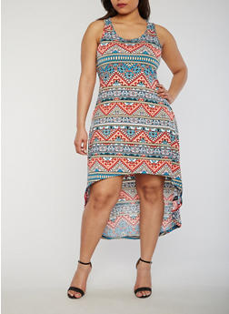 Plus Size Sleeveless Printed High Low Dress - 0390038347936