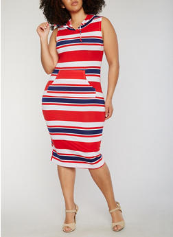 Plus Size Striped Sleeveless Hooded Midi Dress - 0390038347939