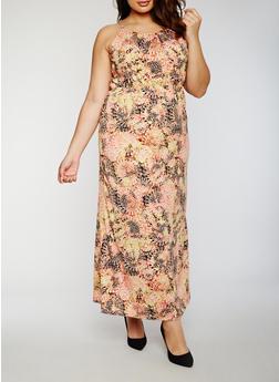Plus Size Printed Maxi Dress with Keyhole Back - 0390038347946